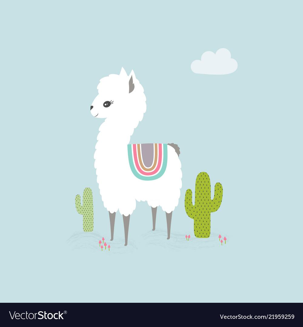 Cute cartoon llama