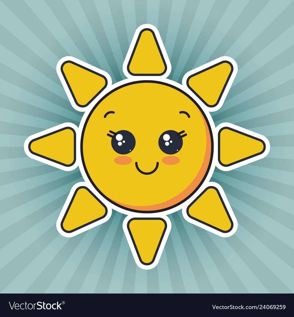 Cute smiling sun face