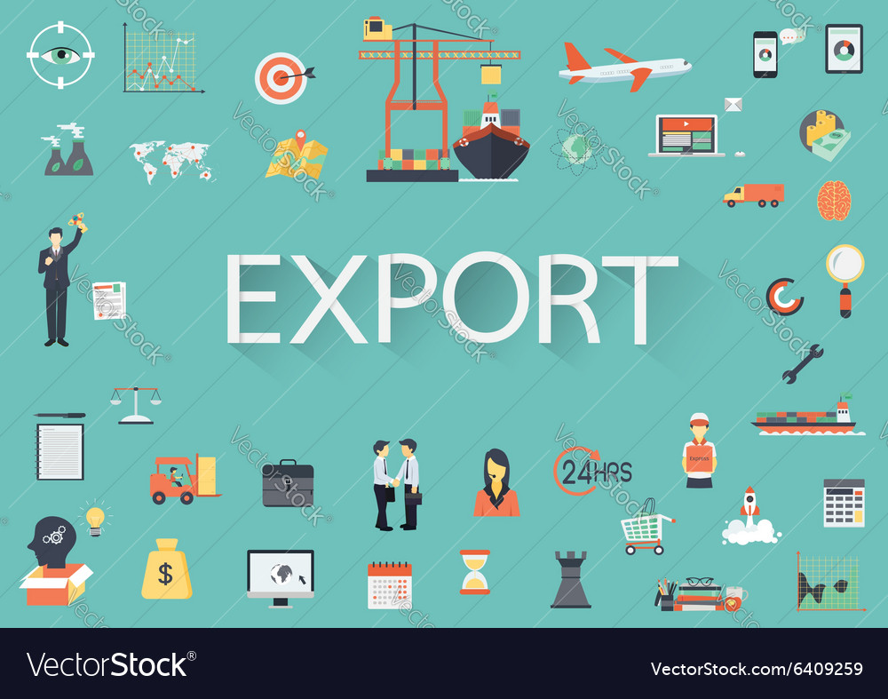 Export flat icons vector