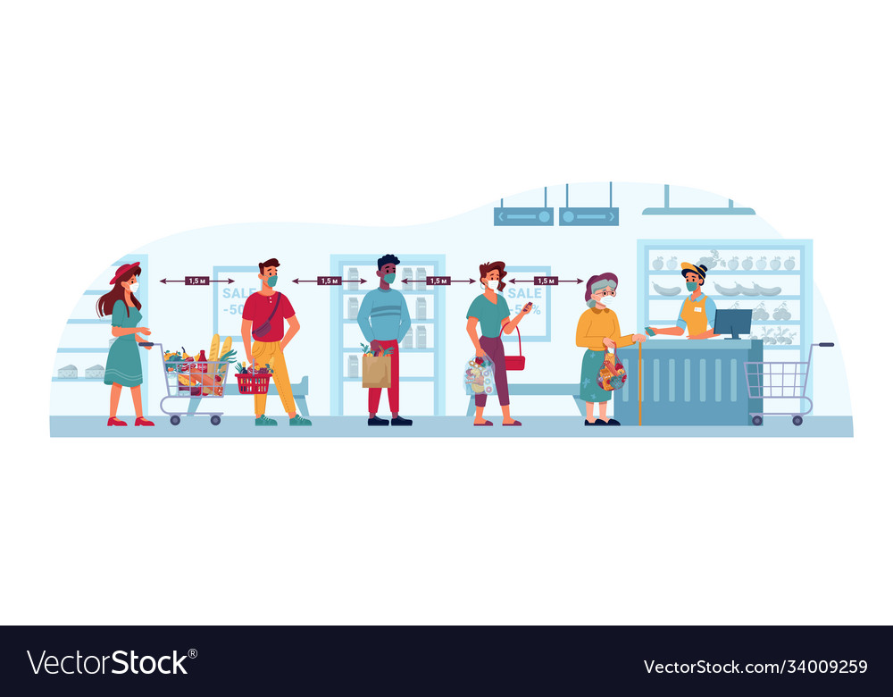 Grocery store queue social distance coronavirus
