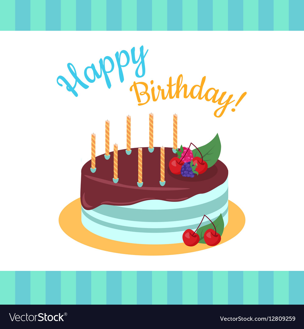 Happy Birthday Cake With Strawberries Isolated Vector Image