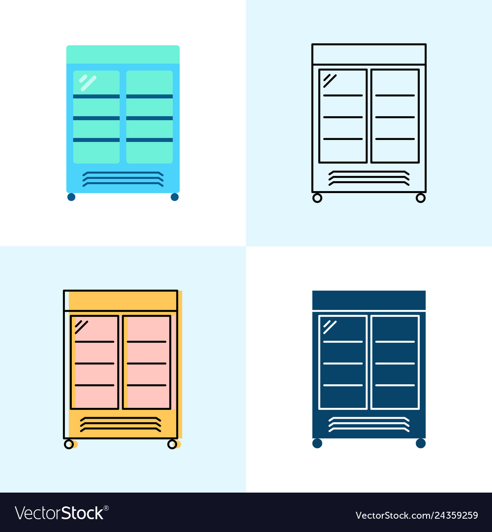 Merchandising refrigerator icon set in flat and