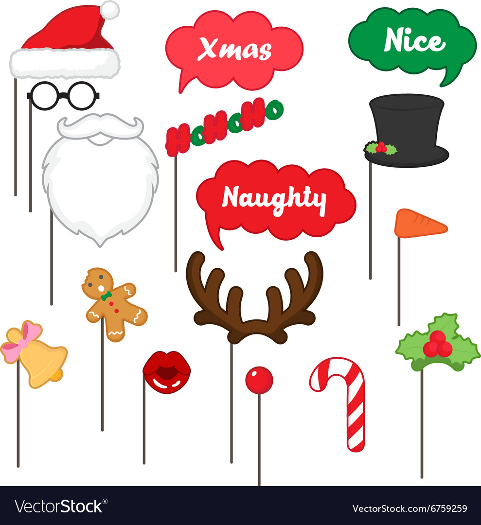 photo booth props for merry christmas royalty free vector