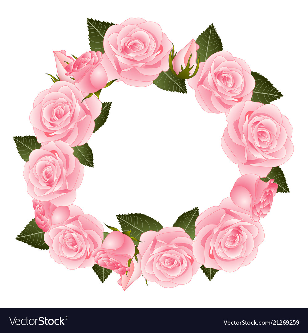 Pink Rose Flower Wreath Royalty Free Vector Image