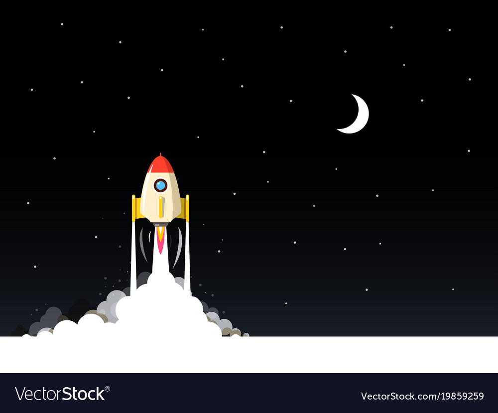 Rocket launch night flat design landscape with vector image