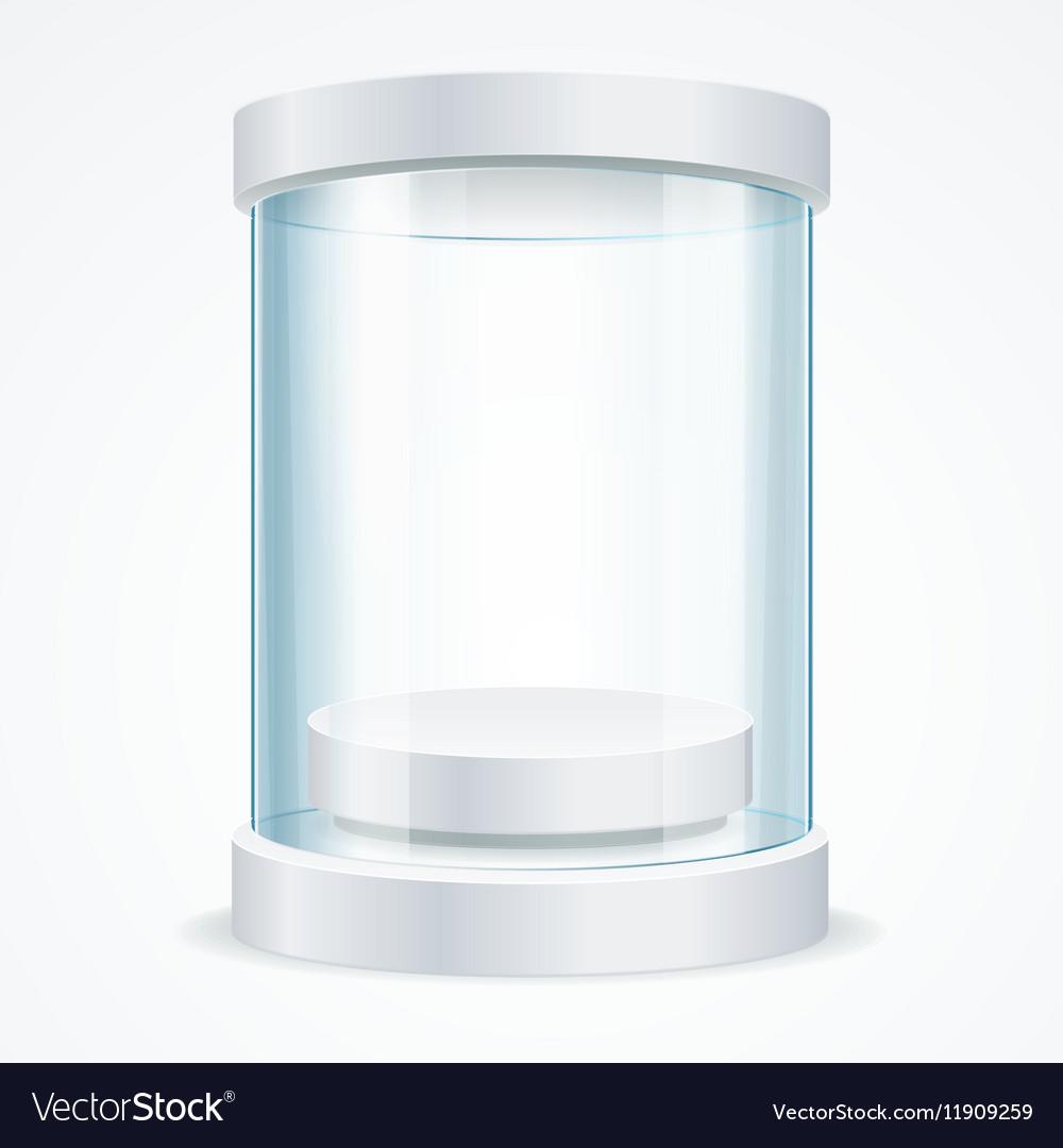 Round Empty Glass Showcase for Exhibit