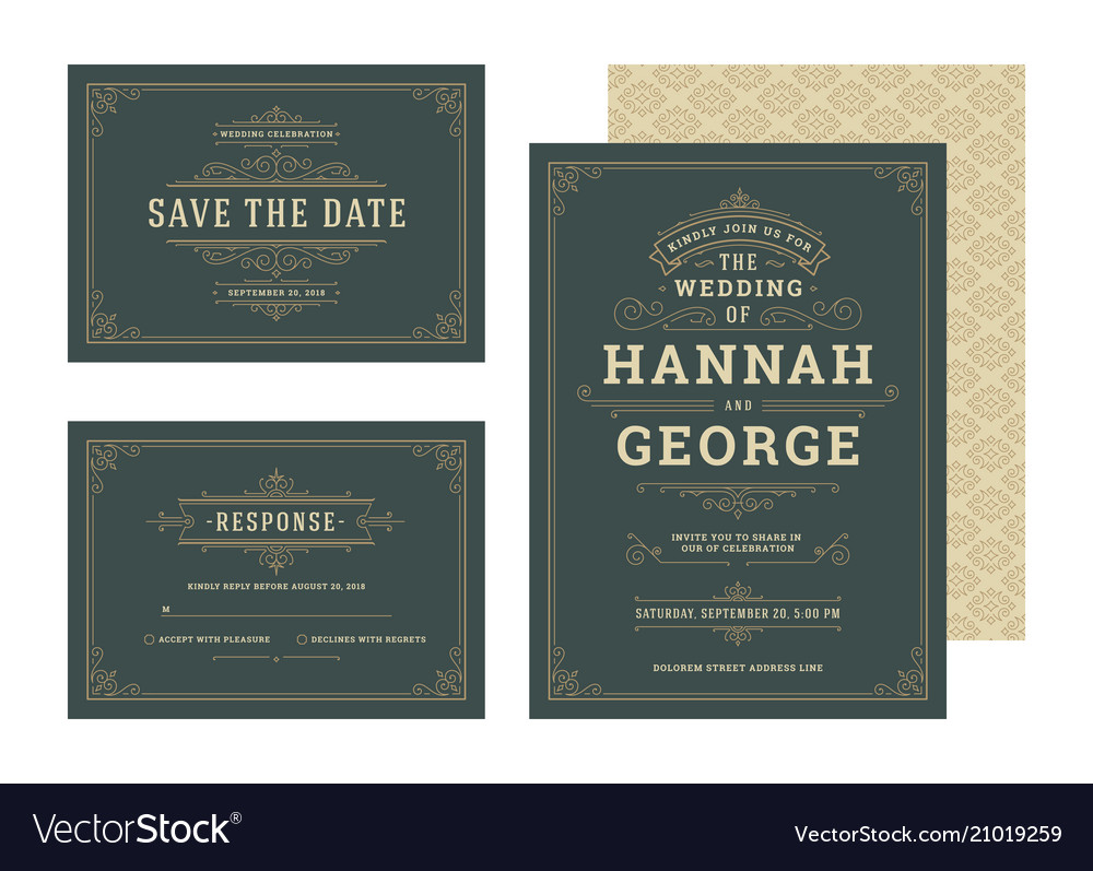 Set wedding invitations flourishes ornaments cards vector image
