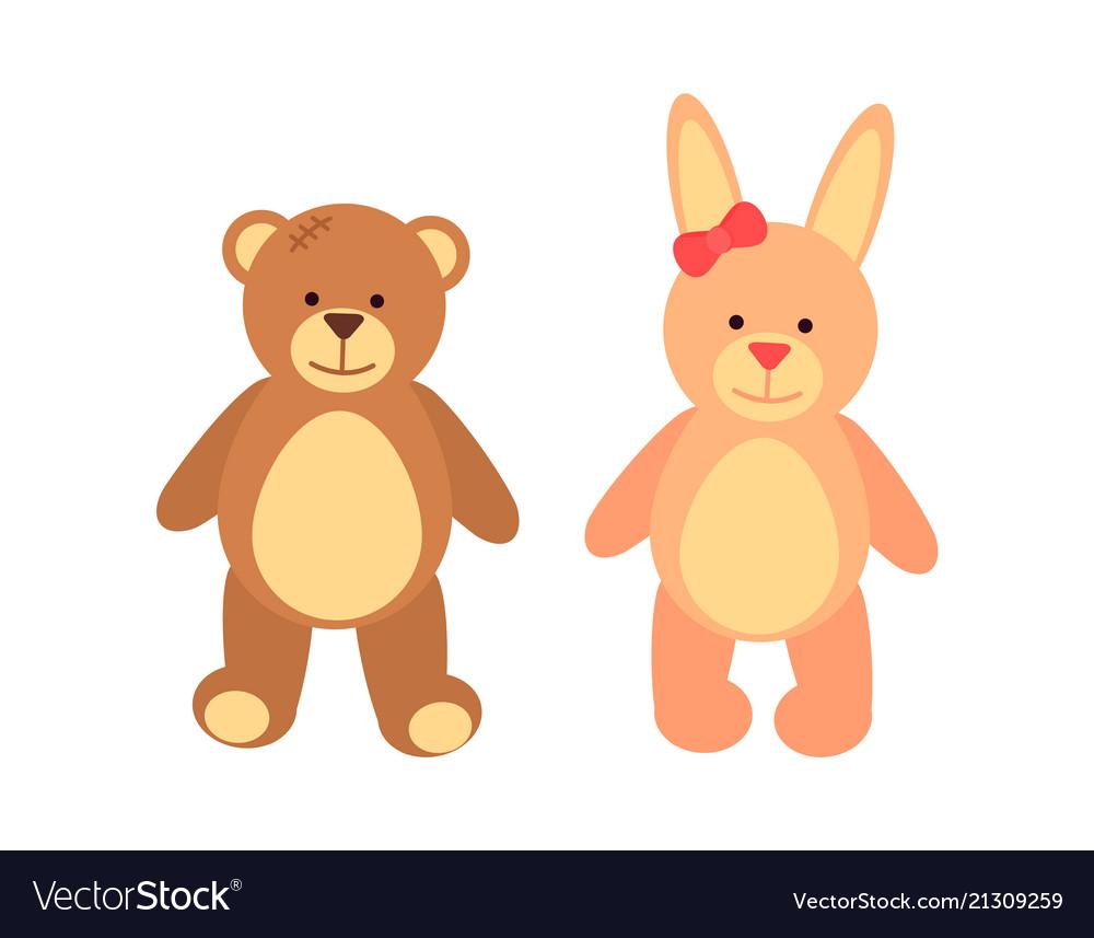 Toys set teddy bear and rabbit