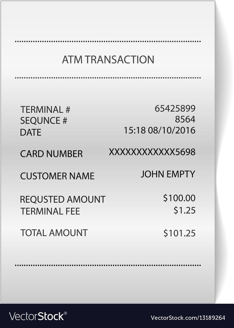 Atm Transaction Printed Paper Receipt Bill