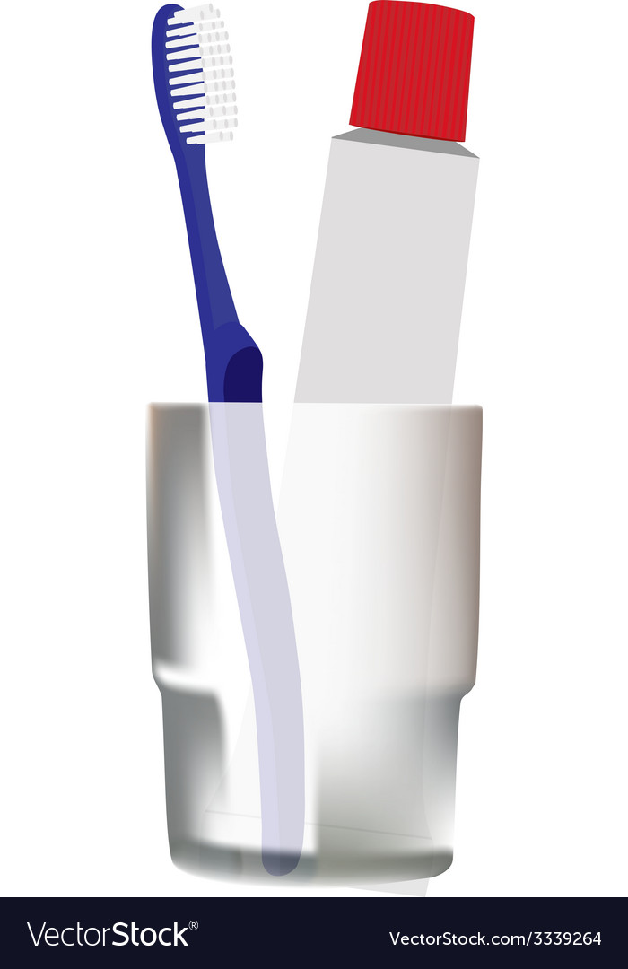 Blue toothbrush in glass
