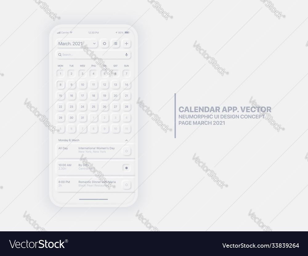 Calendar app march 2021 ui ux neumorphic design Vector Image