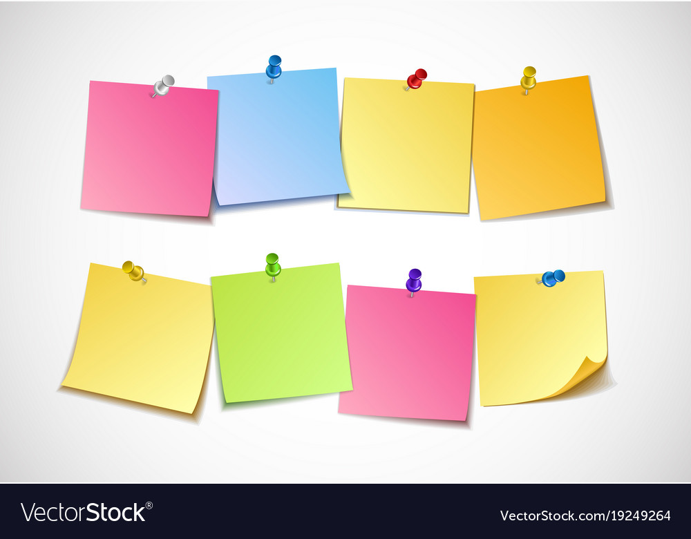 Different colored sheets of note papers collection