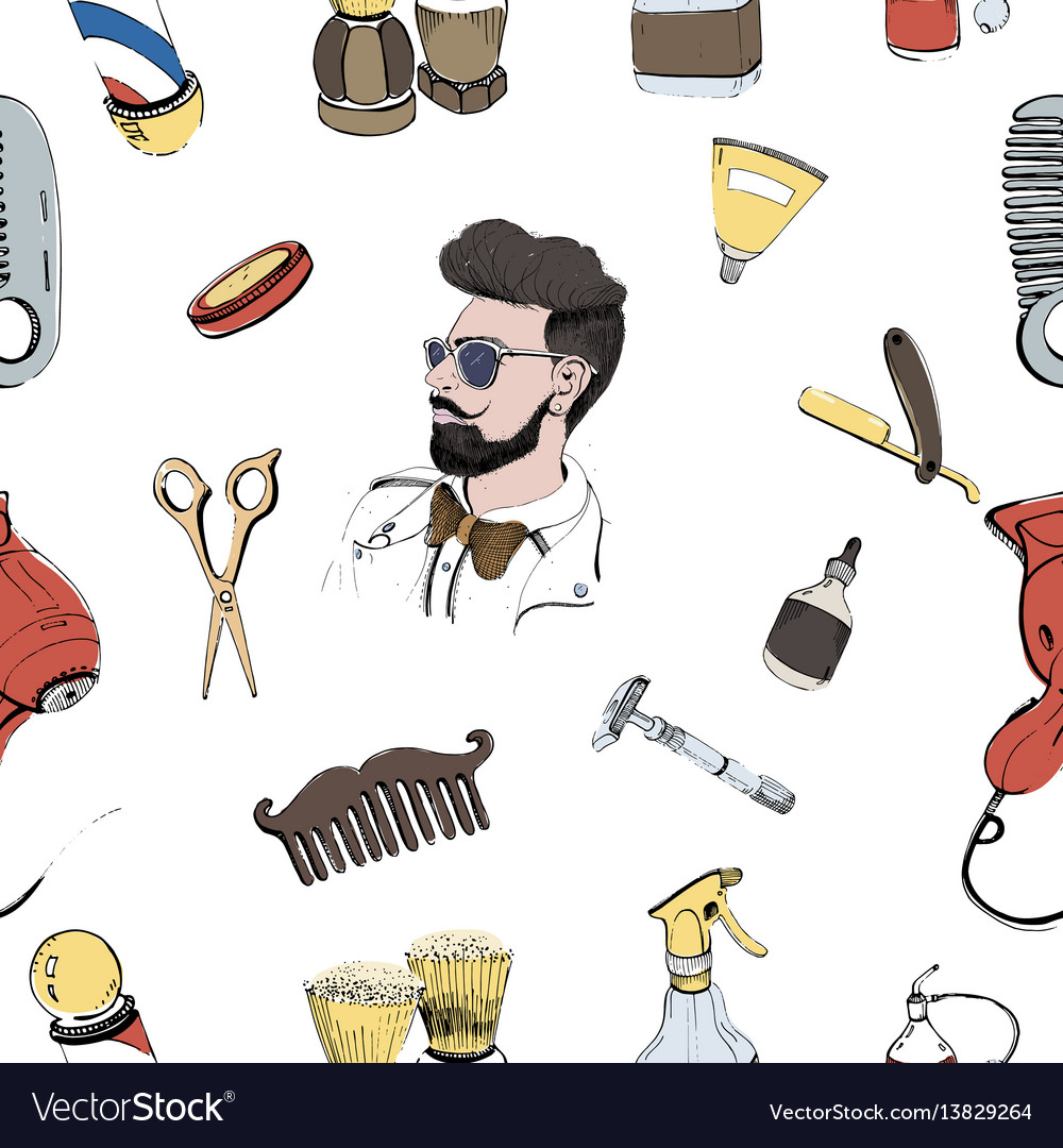 Hand drawn barbershop seamless with accessories