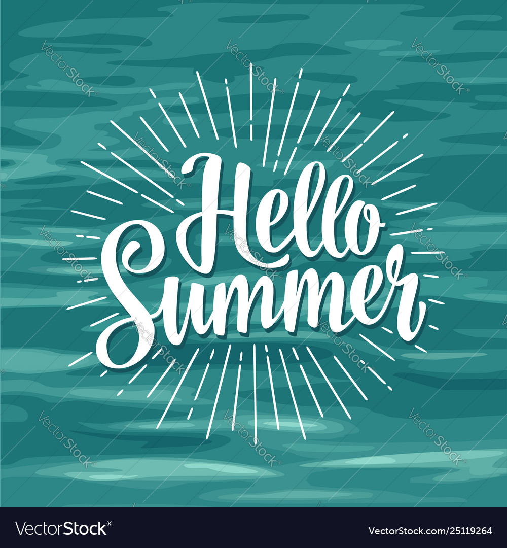 Hello summer hand drawn lettering with rays
