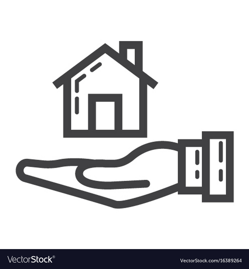 Home in hand line icon business and finance buy