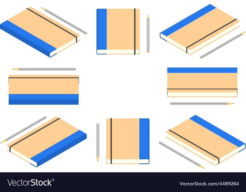 Isometric closed note book with pencil vector image