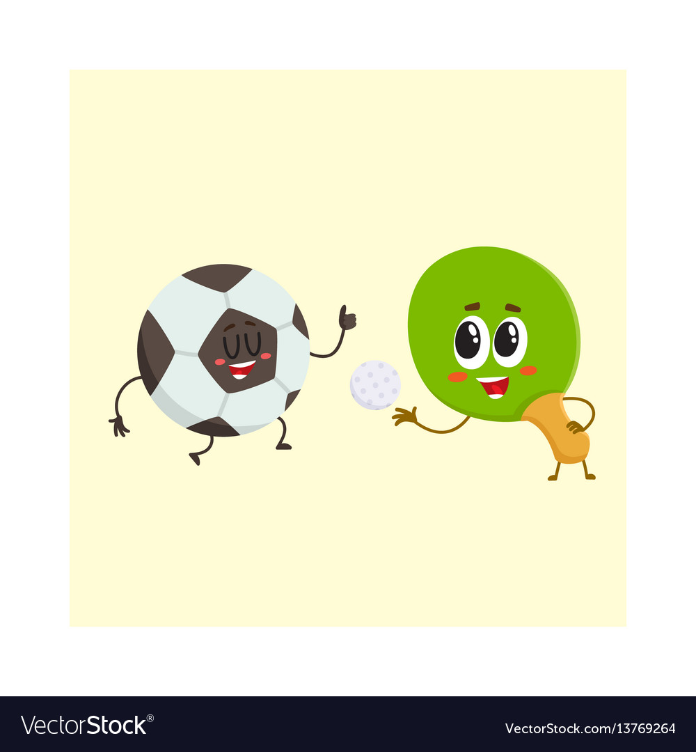 Ping pong table tennis racket and football ball vector image