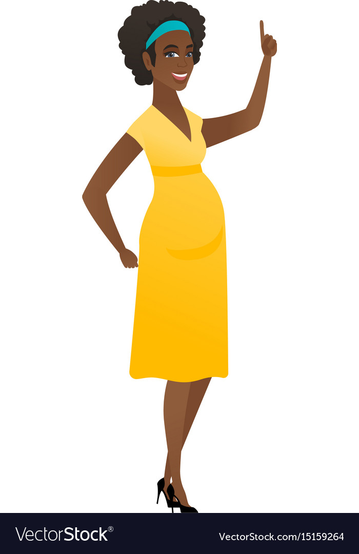 Pregnant woman pointing with her forefinger vector image