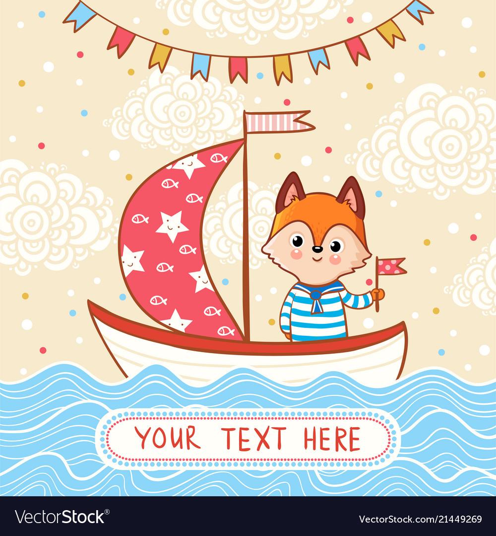 A fox sails on a festive sailboat by the sea