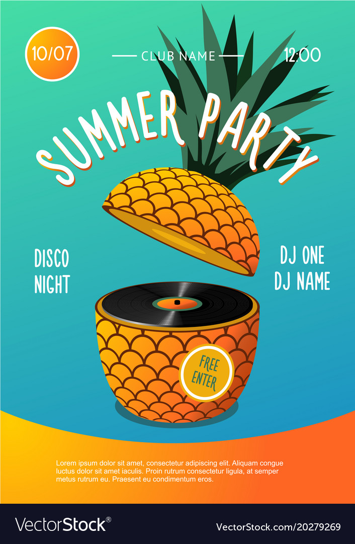 Beach party summer music festival poster with vector image