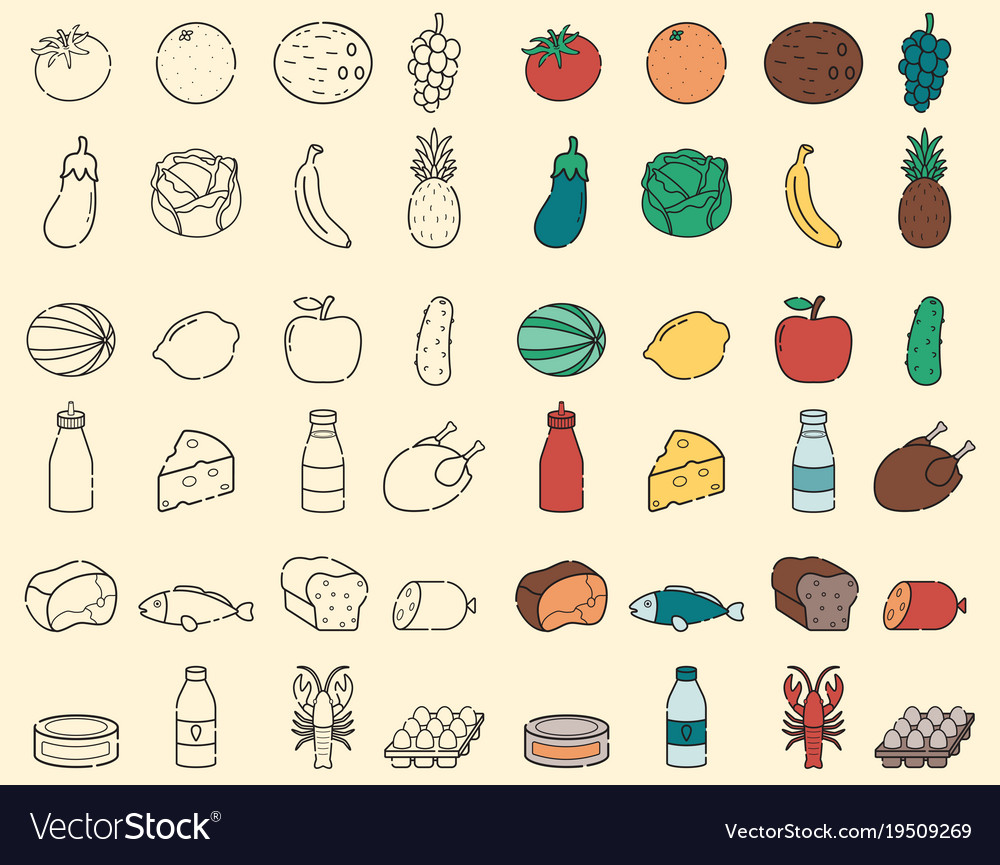 Food and drink thin line icons fruits and