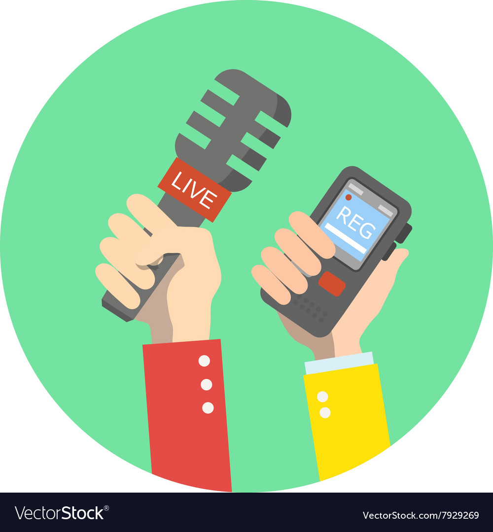 Hand holding microphone Live news Press