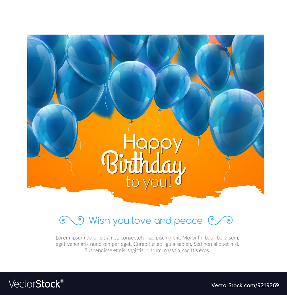 Happy Birthday Card With Blue Balloons Vector Image