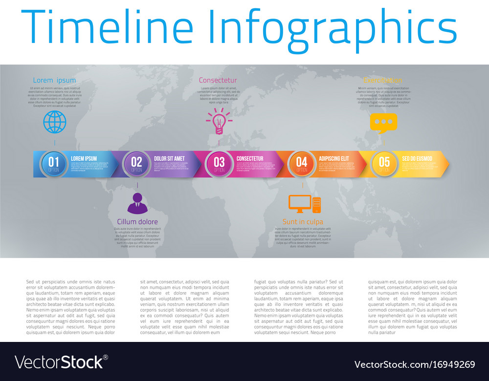 Infographic style colored menu or arrows option