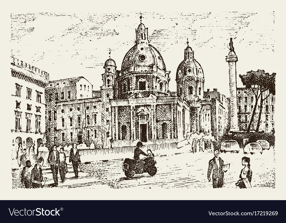 Landscape in european town rome in italy vector image