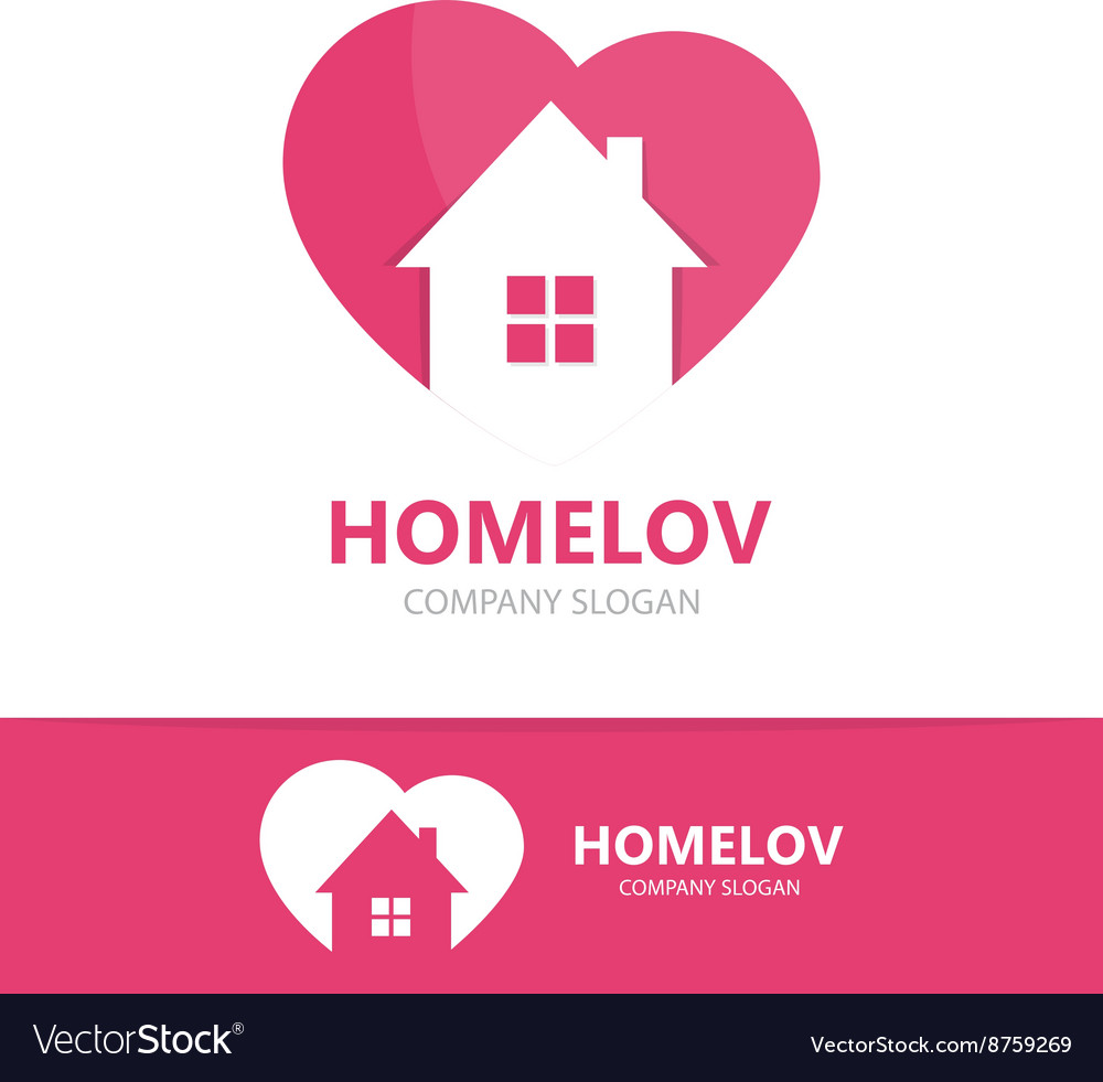 Logo combination of a heart and house