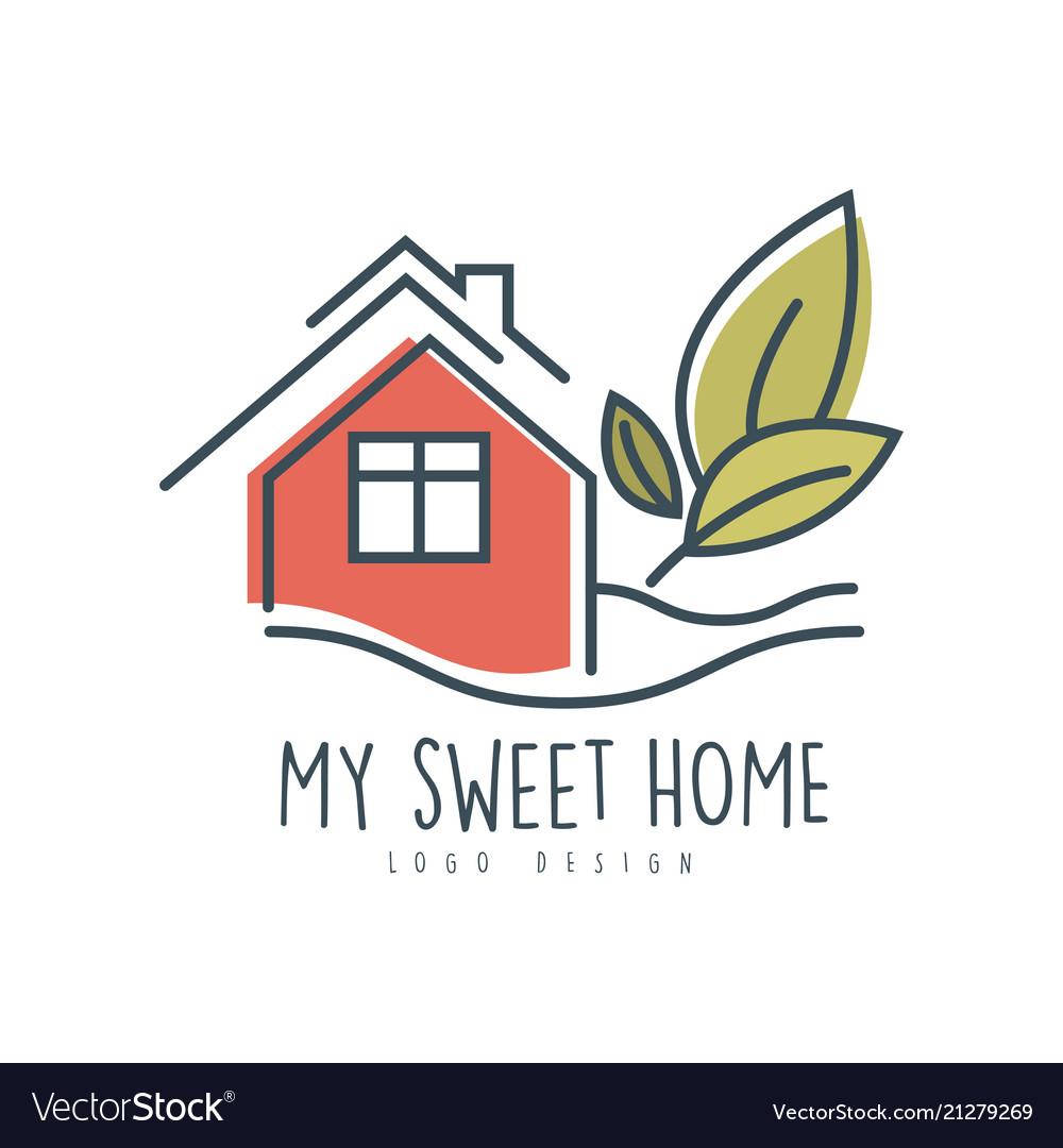 My Sweet Sweet Home Logo Design Ecologic Home Vector Image