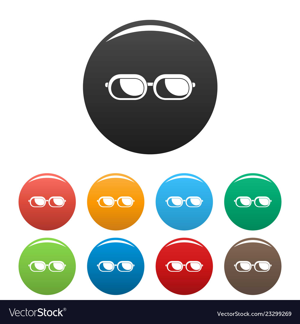 Sun glasses icons set color