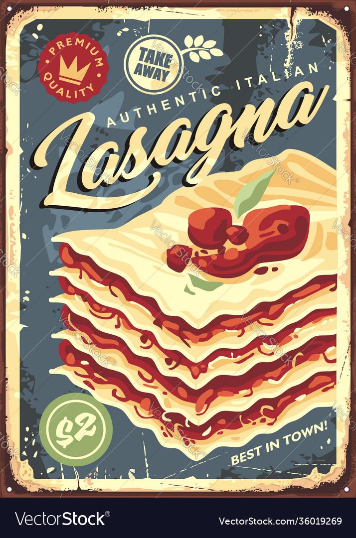 Traditional italian lasagna vintage tin sign
