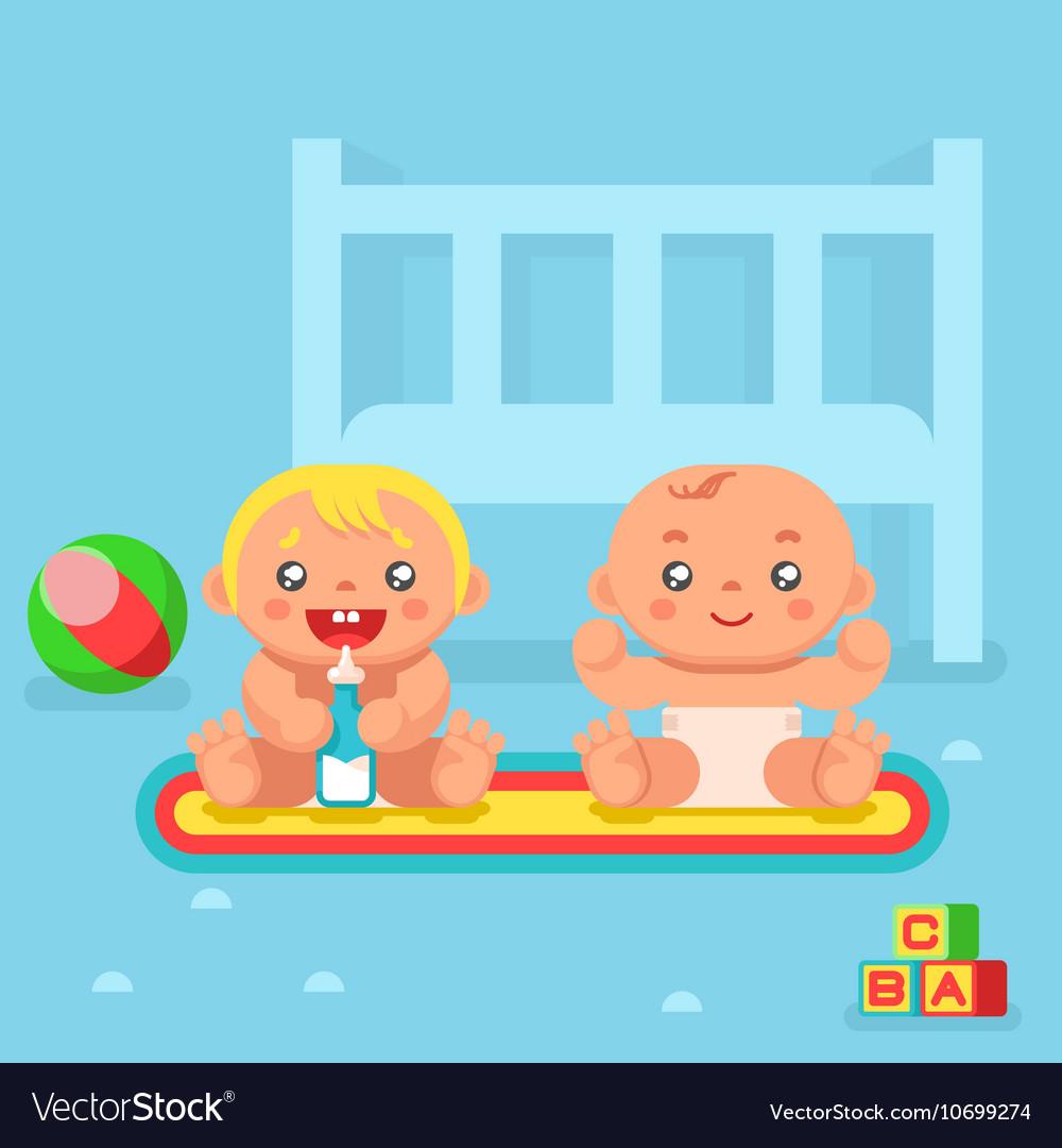Babies drinking milk nursery flat design