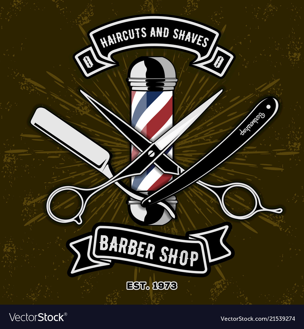 Barber shop logo with barber pole