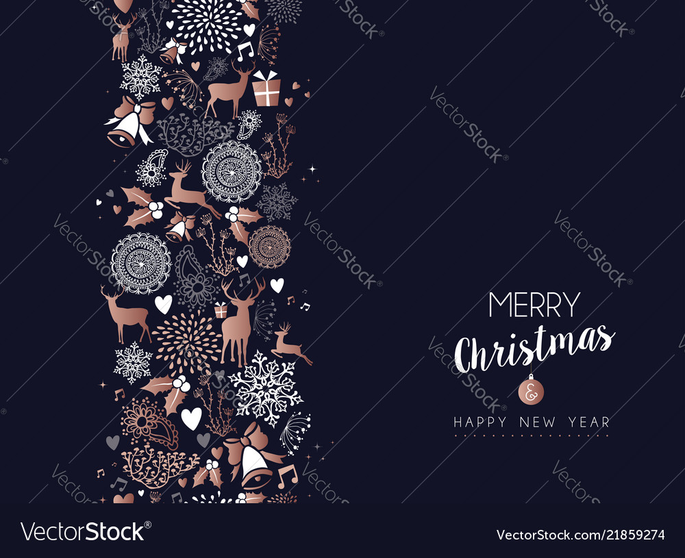 Christmas and new year copper deer decoration card