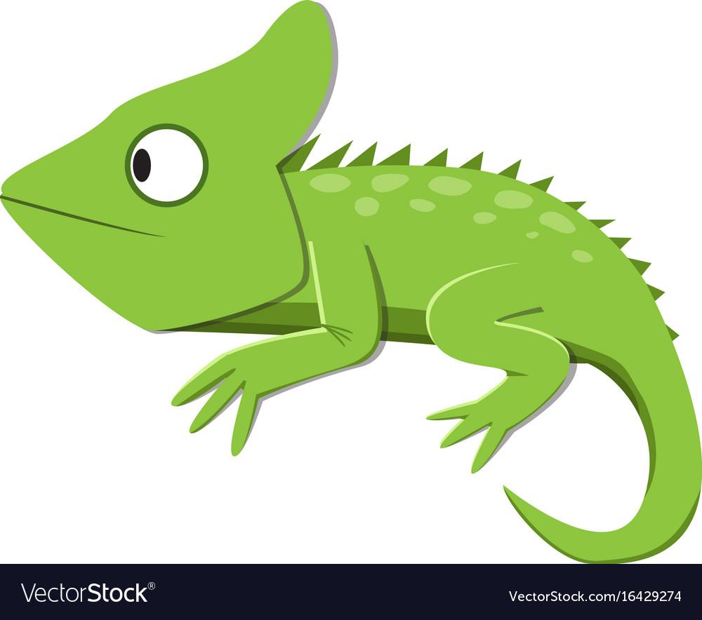 Green lizard watching something in flat style
