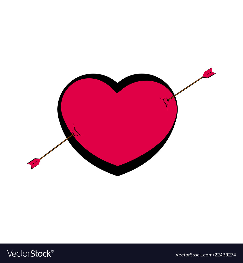 Heart Shape With An Arrow Valentine Day Royalty Free Vector