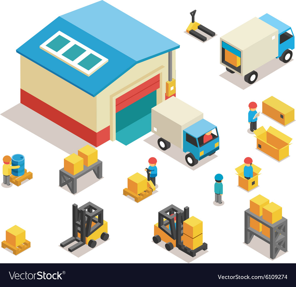 Isometric factory distribution warehouse building