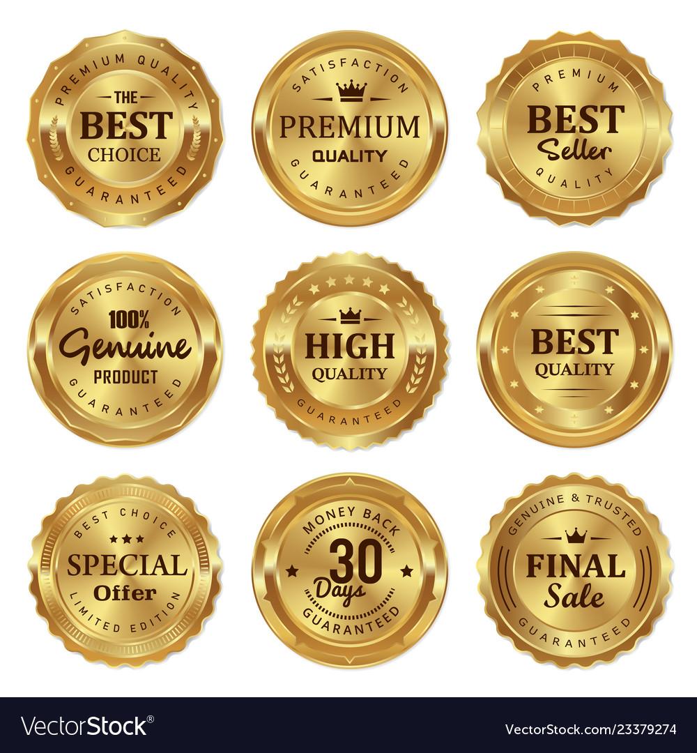 Metalic gold seal badges labels