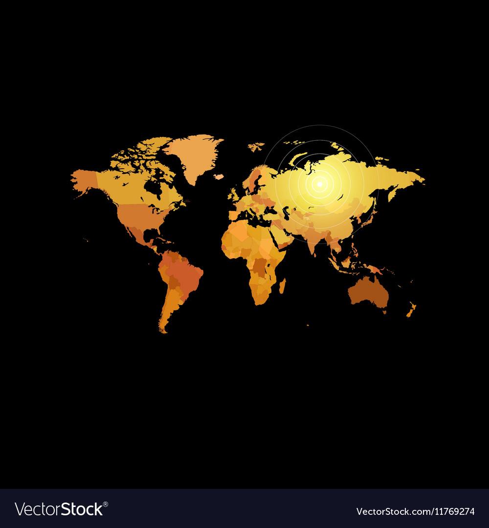 Orange color world map on black background globe vector image gumiabroncs Image collections