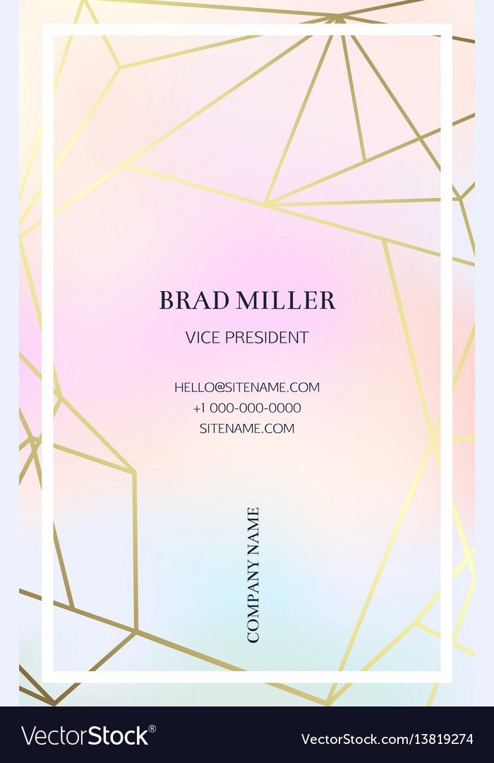 Pink business card with a geometric pattern