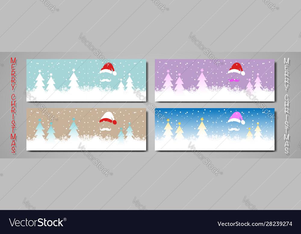 Set banner christmas colorful card merry christmas