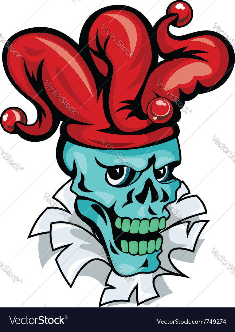 Skull joker cartoon vector image