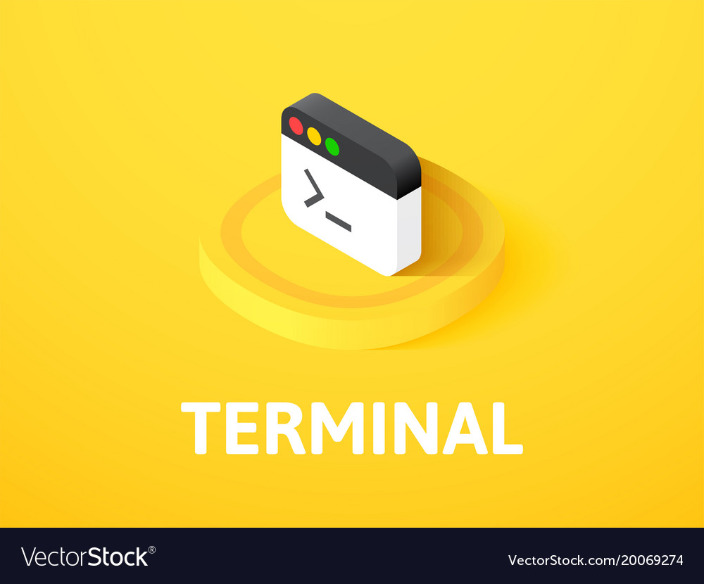 Terminal isometric icon isolated on color