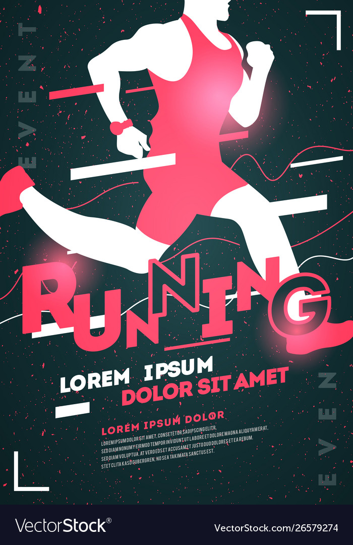 Typographic running poster template with runner