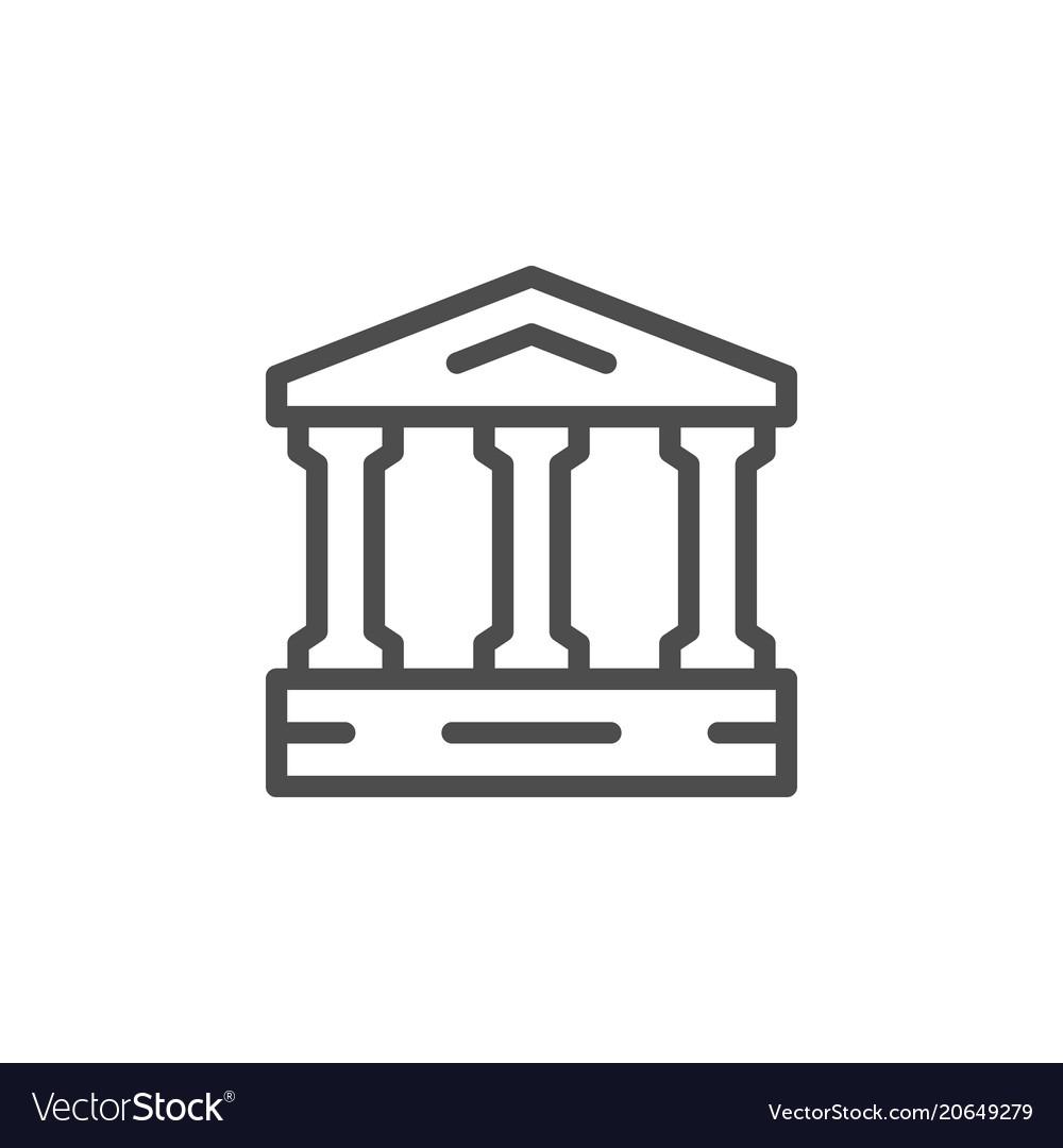 Ancient building line icon