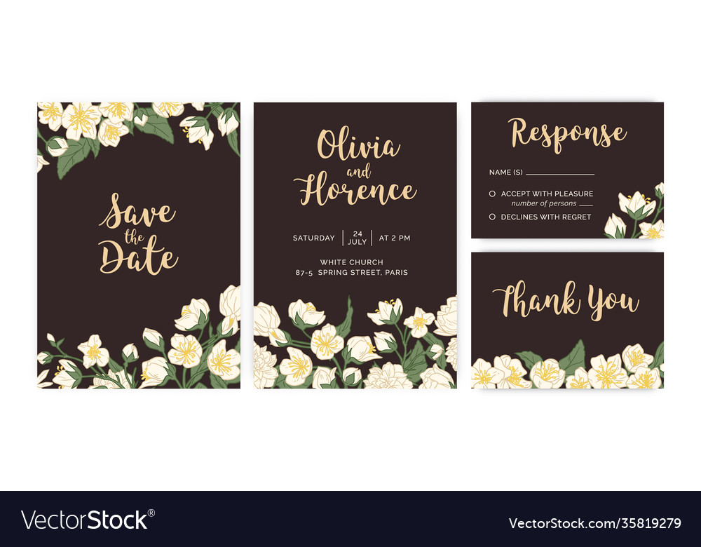 Collection wedding inviting cards with floral