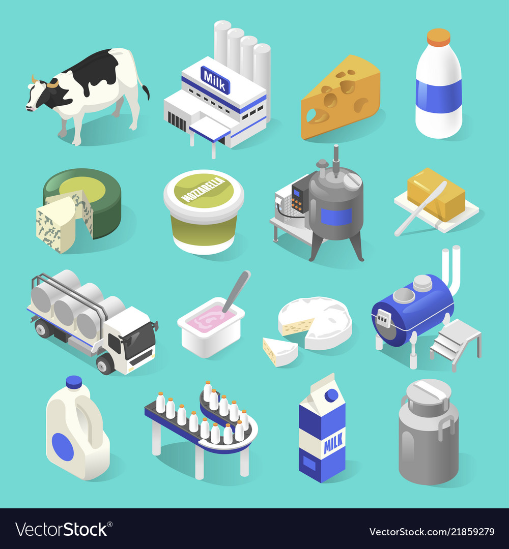 Dairy products factory isometric set on blue