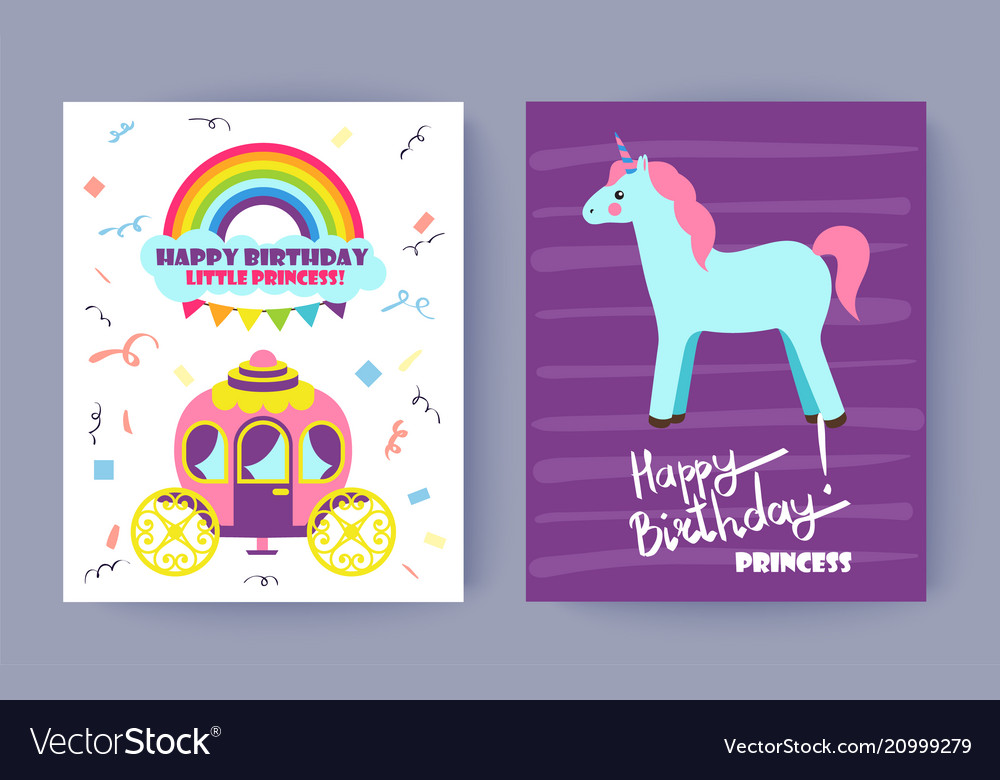 Happy birthday little princess colorful poster
